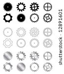 Gears of several types, shapes and colours in a industry related collection - stock vector