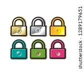 isolated padlock icon color... | Shutterstock .eps vector #1289179651