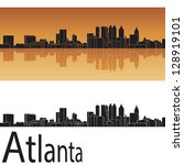 Atlanta skyline in orange background in editable vector file