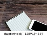 blank paper with mobile phone... | Shutterstock . vector #1289194864