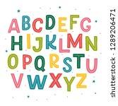 cute hand drawn alphabet made...   Shutterstock .eps vector #1289206471