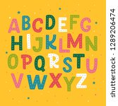 cute hand drawn alphabet made...   Shutterstock .eps vector #1289206474