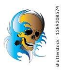 art color skull tattoo. hand... | Shutterstock .eps vector #1289208574