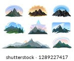 different shapes of mountains... | Shutterstock .eps vector #1289227417