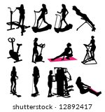 fitness silhouettes | Shutterstock .eps vector #12892417