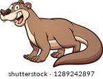 happy cartoon otter. vector...   Shutterstock .eps vector #1289242897