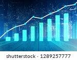 bar chart showing growth   3d... | Shutterstock . vector #1289257777