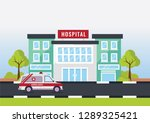 hospital building with an... | Shutterstock .eps vector #1289325421