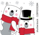 cute polar bear with red and... | Shutterstock .eps vector #1289333284