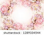 Stock photo spring blossoming tulips bokeh flower background pastel and soft floral card selective focus 1289334544