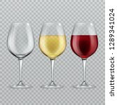 wineglass. empty with red and... | Shutterstock .eps vector #1289341024