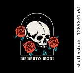 Skull With Roses Memento Mori...