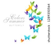 flying rainbow butterflies.... | Shutterstock .eps vector #1289350564