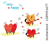 cartoon hearts funny and cute... | Shutterstock .eps vector #1289351677