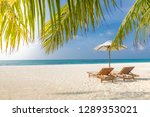 wonderful beach scenery. chairs ... | Shutterstock . vector #1289353021