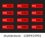 set of red sale icon banners in ...   Shutterstock .eps vector #1289415901