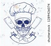 hand drawn sketch  color skull | Shutterstock .eps vector #1289426074
