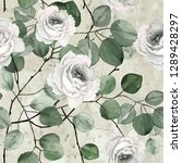 seamless pattern with flowers... | Shutterstock . vector #1289428297