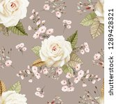 seamless pattern with flowers... | Shutterstock . vector #1289428321