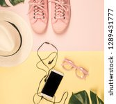 flat lay with trendy... | Shutterstock . vector #1289431777