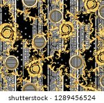 gold baroque round with versace ... | Shutterstock . vector #1289456524