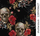 embroidery skull and red roses  ... | Shutterstock .eps vector #1289458627