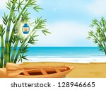 illustration of a boat at the... | Shutterstock . vector #128946665
