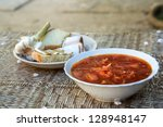traditional ukrainian soup with ...   Shutterstock . vector #128948147