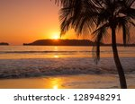 Sunset By A Palm Tree On A...