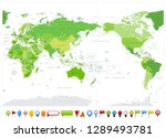 colored world map pacific... | Shutterstock .eps vector #1289493781