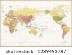 world map retro color pacific... | Shutterstock .eps vector #1289493787