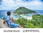 a boy sitting and looking... | Shutterstock . vector #1289495041
