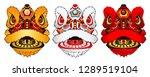 set ofchinese lion head dance...   Shutterstock .eps vector #1289519104