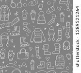hand drawn seamless pattern of... | Shutterstock .eps vector #1289521264