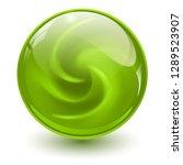 green glass sphere  3d marble... | Shutterstock .eps vector #1289523907