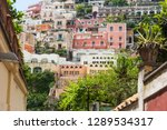 beautiful houses in positano... | Shutterstock . vector #1289534317