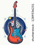 guitar and universe t shirt... | Shutterstock .eps vector #1289536231