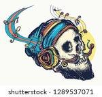skull in earphones listens to... | Shutterstock .eps vector #1289537071