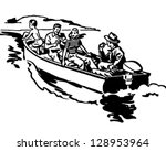 boat ride   retro clip art... | Shutterstock .eps vector #128953964
