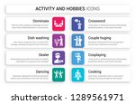 set of 8 white activity and... | Shutterstock .eps vector #1289561971