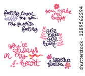 hand drawn lettering set with... | Shutterstock .eps vector #1289562394