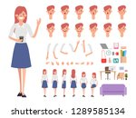business woman or secretary... | Shutterstock .eps vector #1289585134