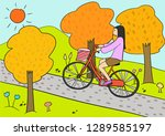 woman riding bicycle on hill in ... | Shutterstock .eps vector #1289585197