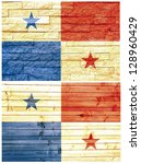vintage wall flag of panama... | Shutterstock . vector #128960429