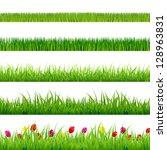 big green grass and flowers set ... | Shutterstock . vector #128963831