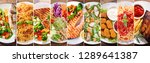 collage of various plates of... | Shutterstock . vector #1289641387