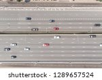 aerial top down view of  cars... | Shutterstock . vector #1289657524