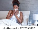 sick african american girl with ... | Shutterstock . vector #1289658067