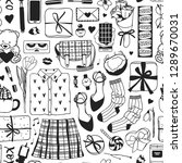 hand drawn fashion seamless... | Shutterstock .eps vector #1289670031