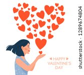 valentine's day card with happy ... | Shutterstock .eps vector #1289674804
